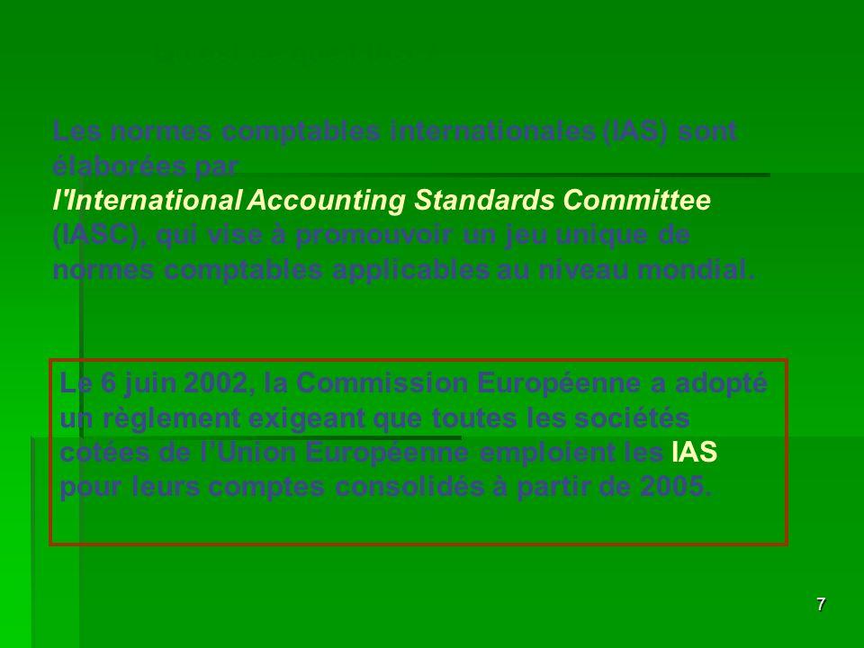 7 Les normes comptables internationales (IAS) sont élaborées par l'International Accounting Standards Committee (IASC), qui vise à promouvoir un jeu u