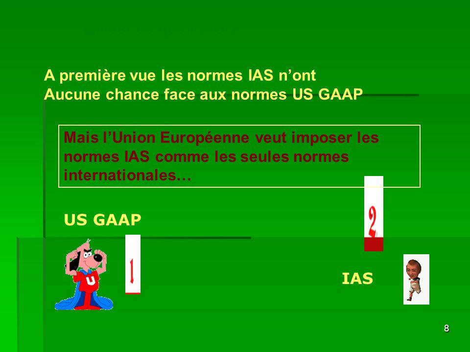 8 A première vue les normes IAS nont Aucune chance face aux normes US GAAP US GAAP IAS Mais lUnion Européenne veut imposer les normes IAS comme les se