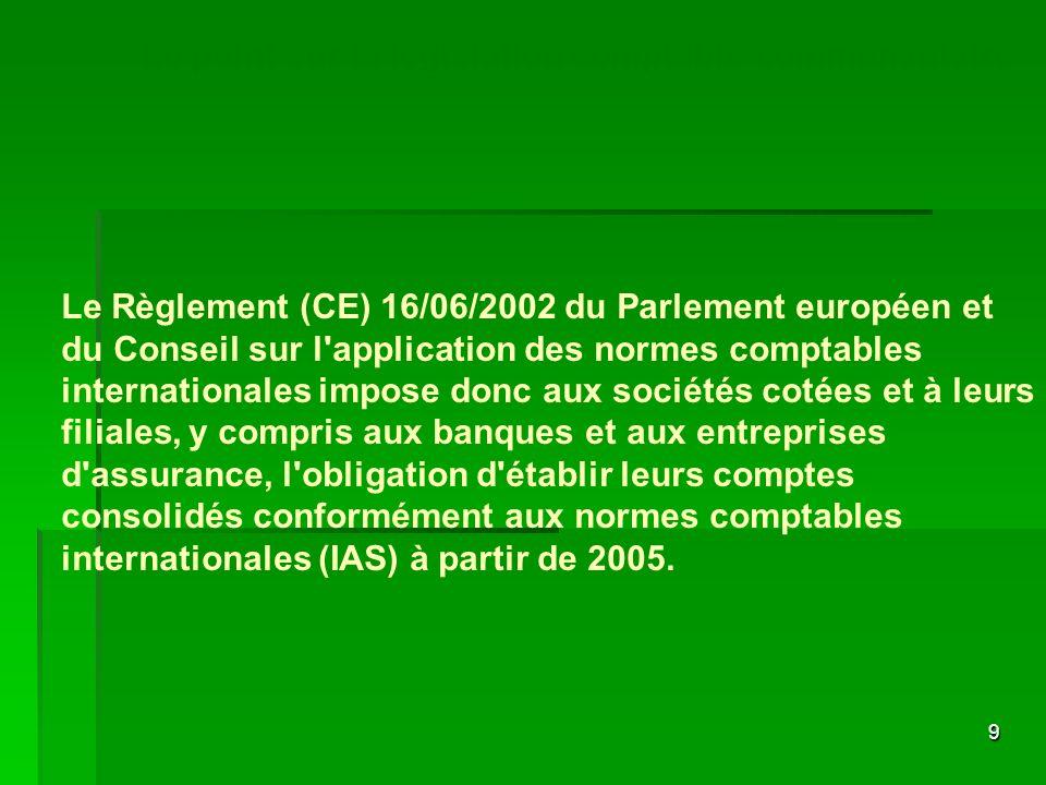 9 Le Règlement (CE) 16/06/2002 du Parlement européen et du Conseil sur l'application des normes comptables internationales impose donc aux sociétés co