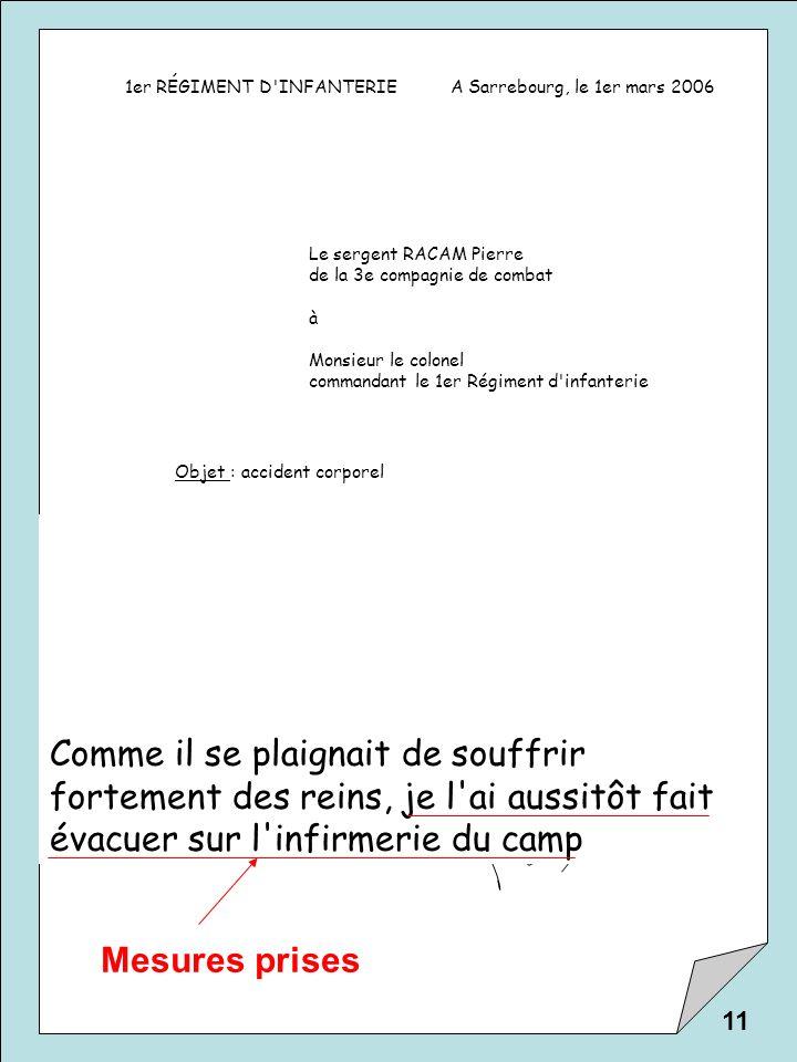 1er RÉGIMENT D'INFANTERIEA Sarrebourg, le 1er mars 2006 Le sergent RACAM Pierre de la 3e compagnie de combat à Monsieur le colonel commandant le 1er R