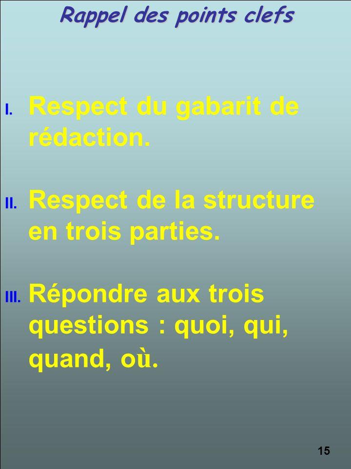 Rappel des points clefs I.Respect du gabarit de rédaction. II.Respect de la structure en trois parties. III.Répondre aux trois questions : quoi, qui,