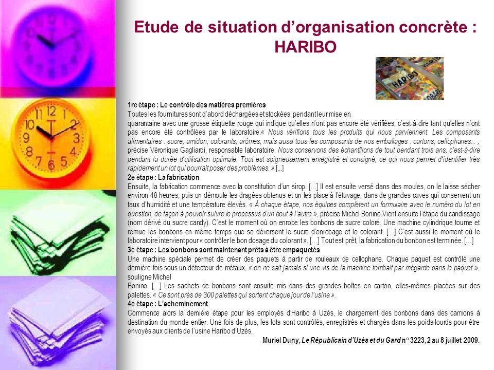 Etude de situation dorganisation concrète : HARIBO 1re étape : Le contrôle des matières premières Toutes les fournitures sont dabord déchargées et sto