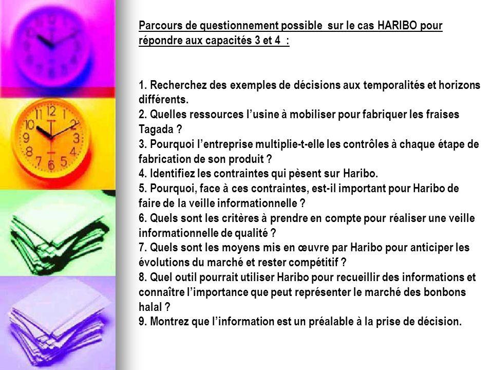Parcours de questionnement possible sur le cas HARIBO pour répondre aux capacités 3 et 4 : 1. Recherchez des exemples de décisions aux temporalités et
