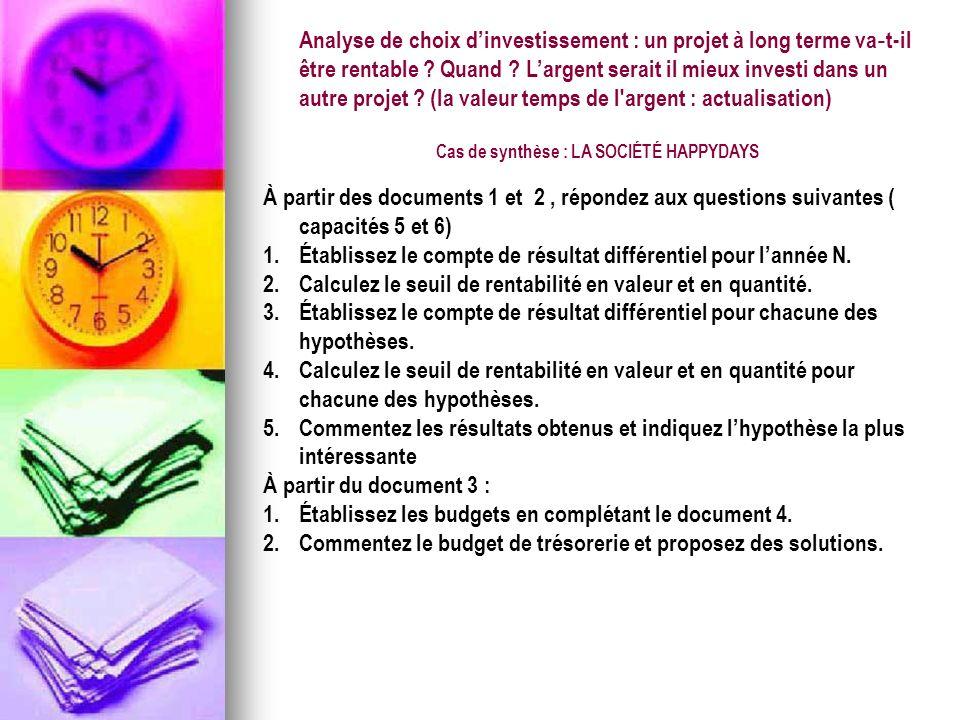 Analyse de choix dinvestissement : un projet à long terme va t-il être rentable ? Quand ? Largent serait il mieux investi dans un autre projet ? (la v