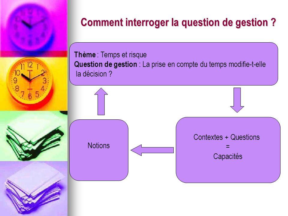Comment interroger la question de gestion ? Thème : Temps et risque Question de gestion : La prise en compte du temps modifie-t-elle la décision ? Not