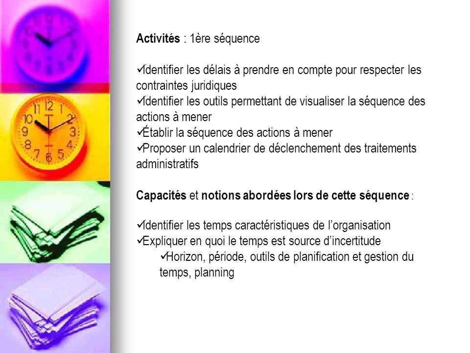 Activités : 1ère séquence Identifier les délais à prendre en compte pour respecter les contraintes juridiques Identifier les outils permettant de visu
