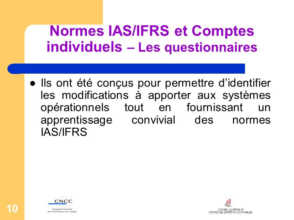 CONSEIL SUPERIEUR ORDRE DES EXPERTS COMPTABLES 10 Normes IAS/IFRS et Comptes individuels – Les questionnaires Ils ont été conçus pour permettre dident