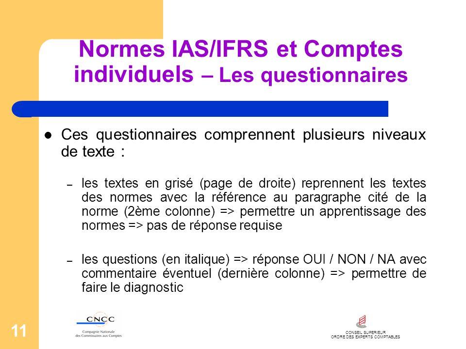 CONSEIL SUPERIEUR ORDRE DES EXPERTS COMPTABLES 11 Normes IAS/IFRS et Comptes individuels – Les questionnaires Ces questionnaires comprennent plusieurs