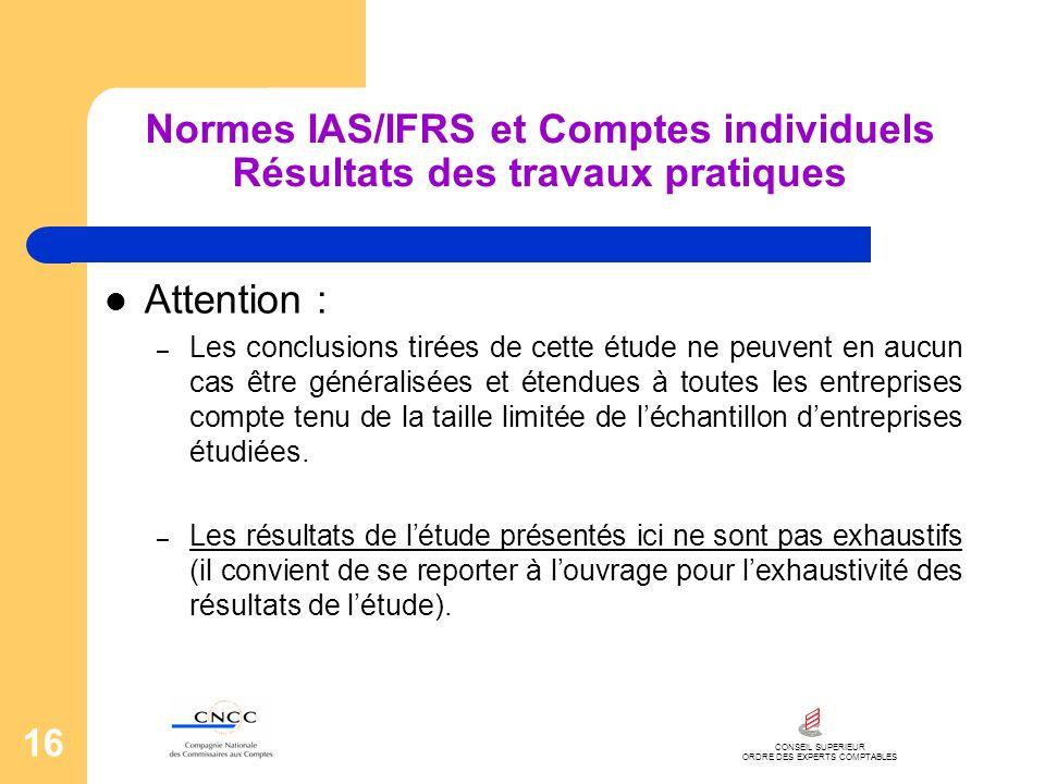 CONSEIL SUPERIEUR ORDRE DES EXPERTS COMPTABLES 16 Normes IAS/IFRS et Comptes individuels Résultats des travaux pratiques Attention : – Les conclusions