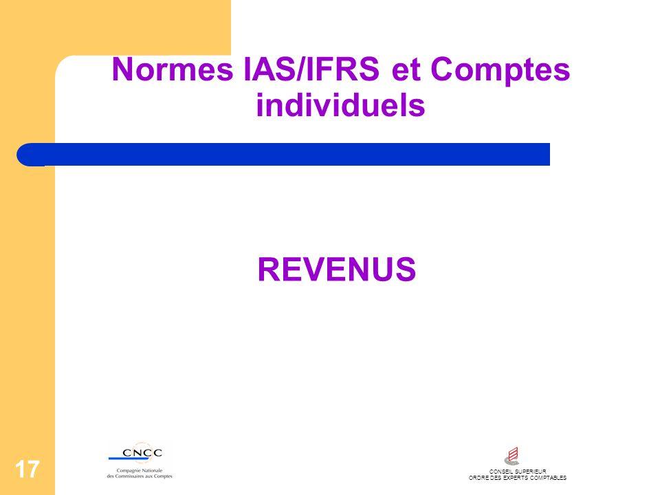 CONSEIL SUPERIEUR ORDRE DES EXPERTS COMPTABLES 17 Normes IAS/IFRS et Comptes individuels REVENUS