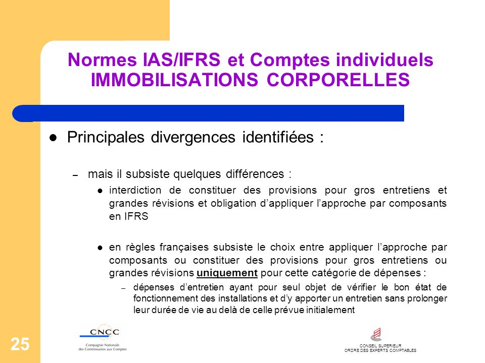 CONSEIL SUPERIEUR ORDRE DES EXPERTS COMPTABLES 25 Normes IAS/IFRS et Comptes individuels IMMOBILISATIONS CORPORELLES Principales divergences identifié