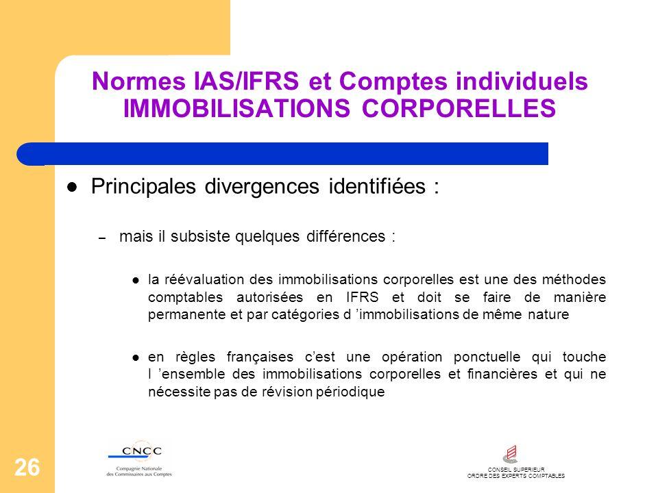 CONSEIL SUPERIEUR ORDRE DES EXPERTS COMPTABLES 26 Normes IAS/IFRS et Comptes individuels IMMOBILISATIONS CORPORELLES Principales divergences identifié