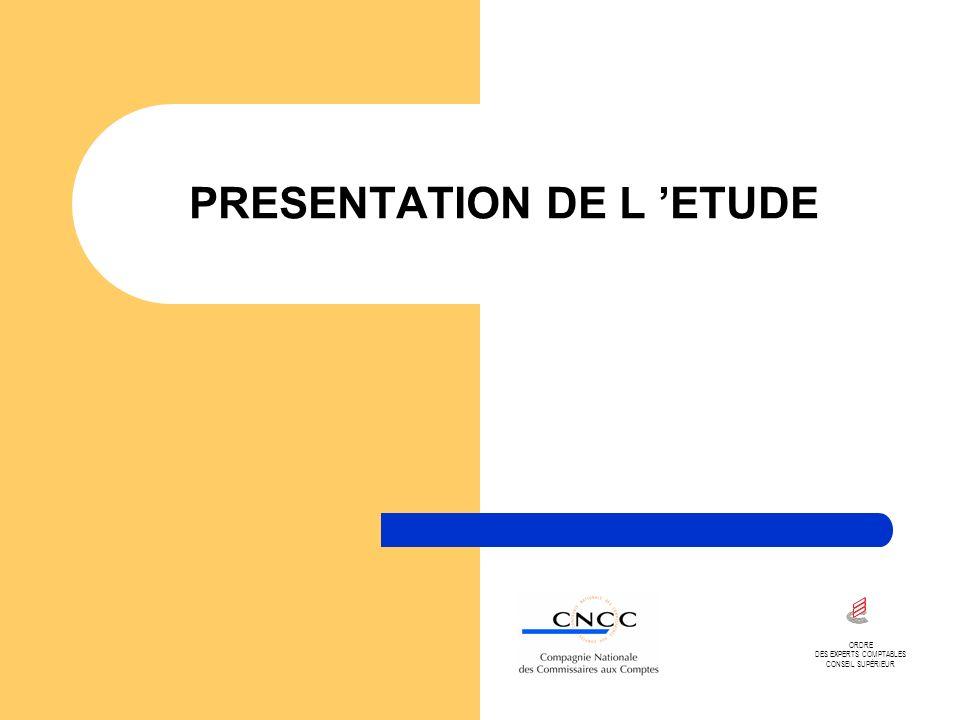 PRESENTATION DE L ETUDE ORDRE DES EXPERTS COMPTABLES CONSEIL SUPÉRIEUR