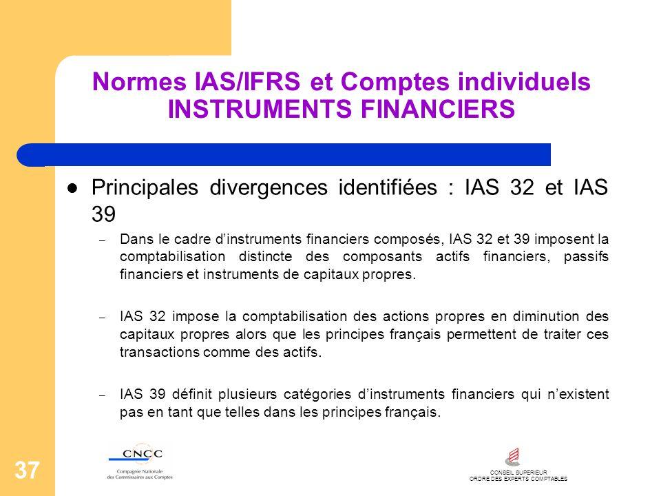 CONSEIL SUPERIEUR ORDRE DES EXPERTS COMPTABLES 37 Normes IAS/IFRS et Comptes individuels INSTRUMENTS FINANCIERS Principales divergences identifiées :