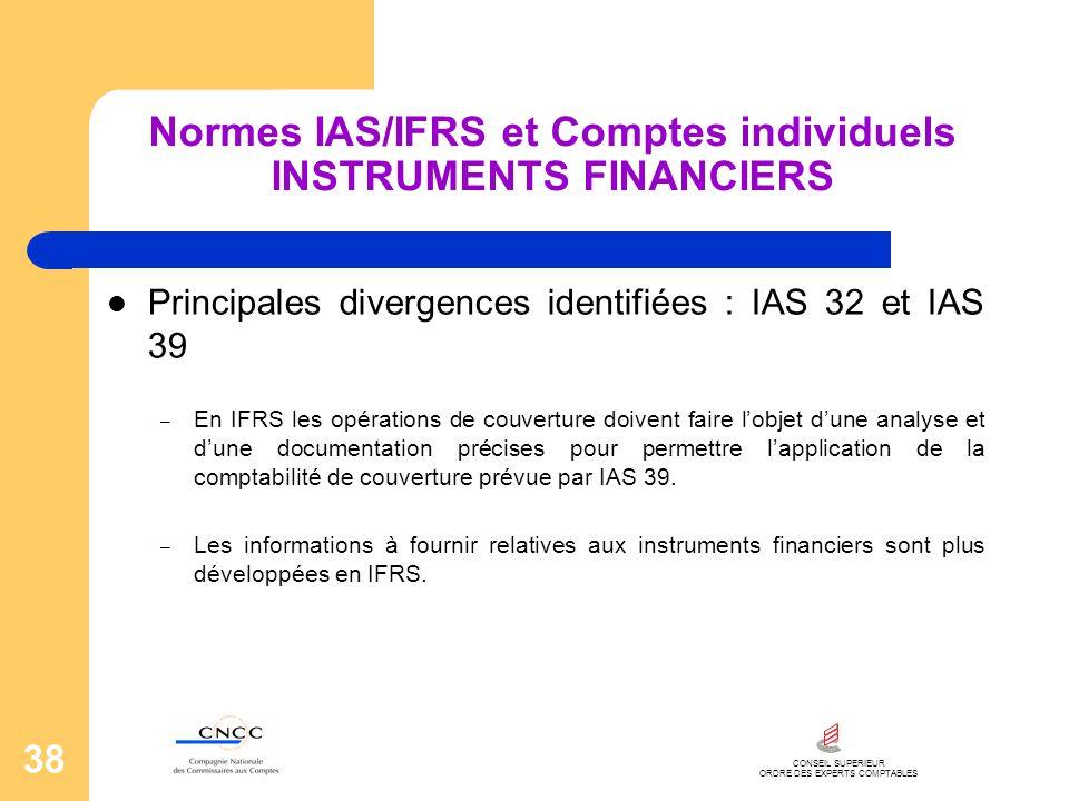 CONSEIL SUPERIEUR ORDRE DES EXPERTS COMPTABLES 38 Normes IAS/IFRS et Comptes individuels INSTRUMENTS FINANCIERS Principales divergences identifiées :