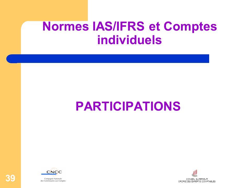 CONSEIL SUPERIEUR ORDRE DES EXPERTS COMPTABLES 39 Normes IAS/IFRS et Comptes individuels PARTICIPATIONS