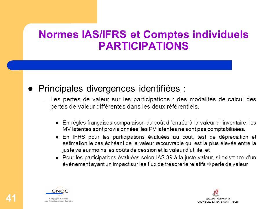 CONSEIL SUPERIEUR ORDRE DES EXPERTS COMPTABLES 41 Normes IAS/IFRS et Comptes individuels PARTICIPATIONS Principales divergences identifiées : – Les pe