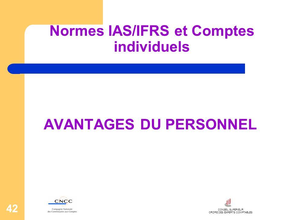 CONSEIL SUPERIEUR ORDRE DES EXPERTS COMPTABLES 42 Normes IAS/IFRS et Comptes individuels AVANTAGES DU PERSONNEL