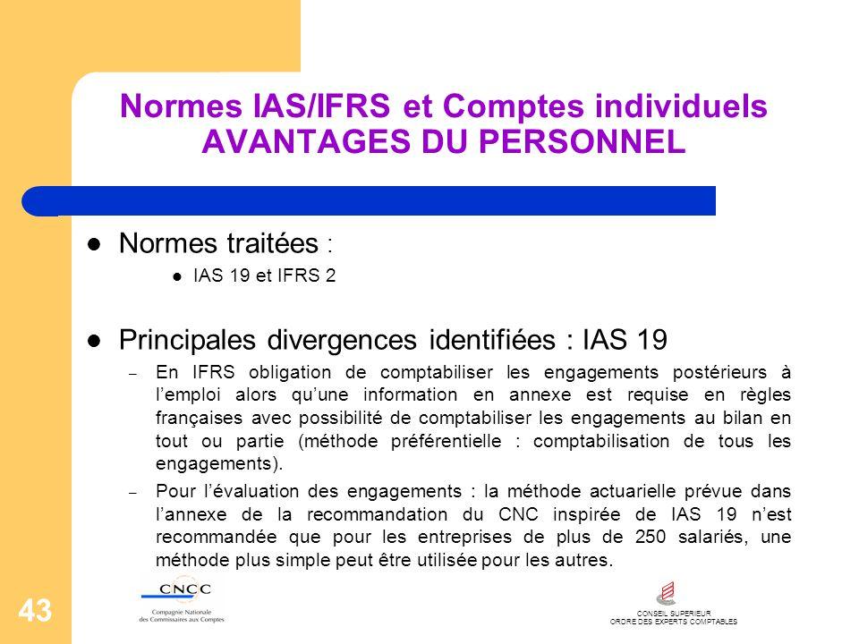 CONSEIL SUPERIEUR ORDRE DES EXPERTS COMPTABLES 43 Normes IAS/IFRS et Comptes individuels AVANTAGES DU PERSONNEL Normes traitées : IAS 19 et IFRS 2 Pri