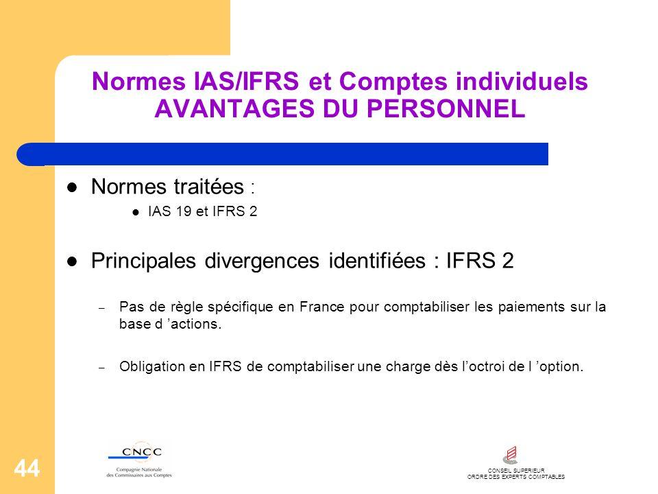 CONSEIL SUPERIEUR ORDRE DES EXPERTS COMPTABLES 44 Normes IAS/IFRS et Comptes individuels AVANTAGES DU PERSONNEL Normes traitées : IAS 19 et IFRS 2 Pri
