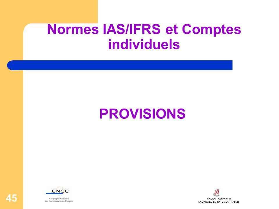 CONSEIL SUPERIEUR ORDRE DES EXPERTS COMPTABLES 45 Normes IAS/IFRS et Comptes individuels PROVISIONS