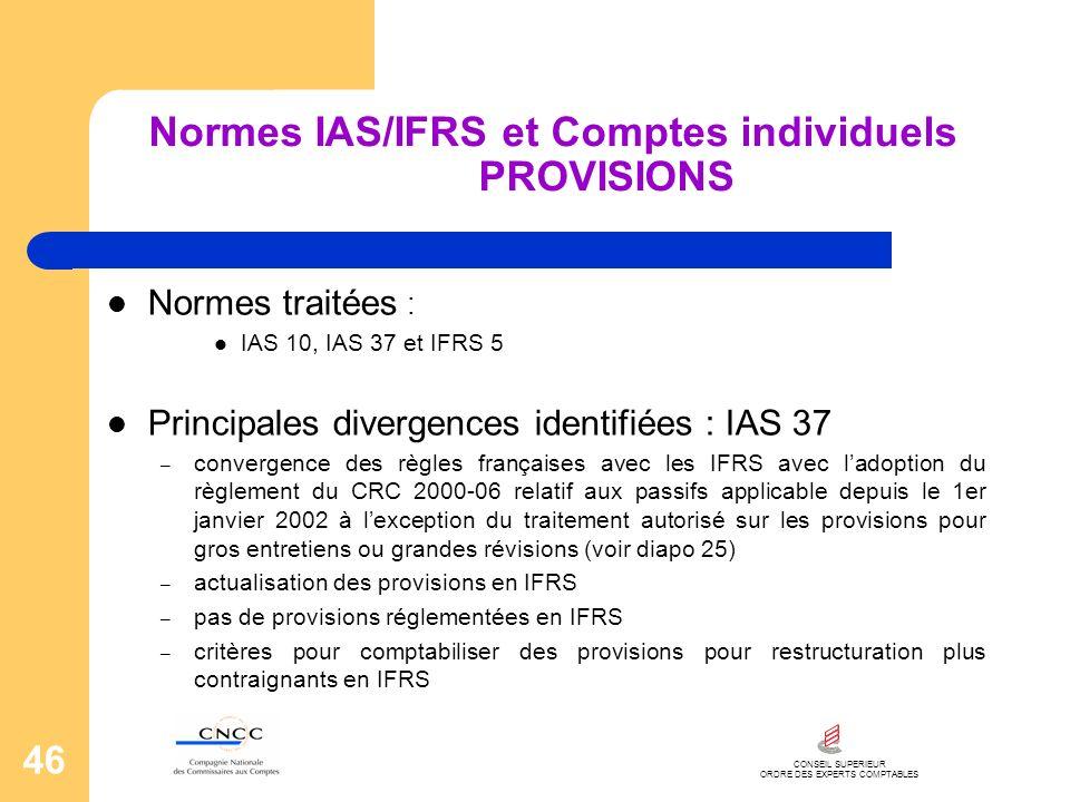 CONSEIL SUPERIEUR ORDRE DES EXPERTS COMPTABLES 46 Normes IAS/IFRS et Comptes individuels PROVISIONS Normes traitées : IAS 10, IAS 37 et IFRS 5 Princip