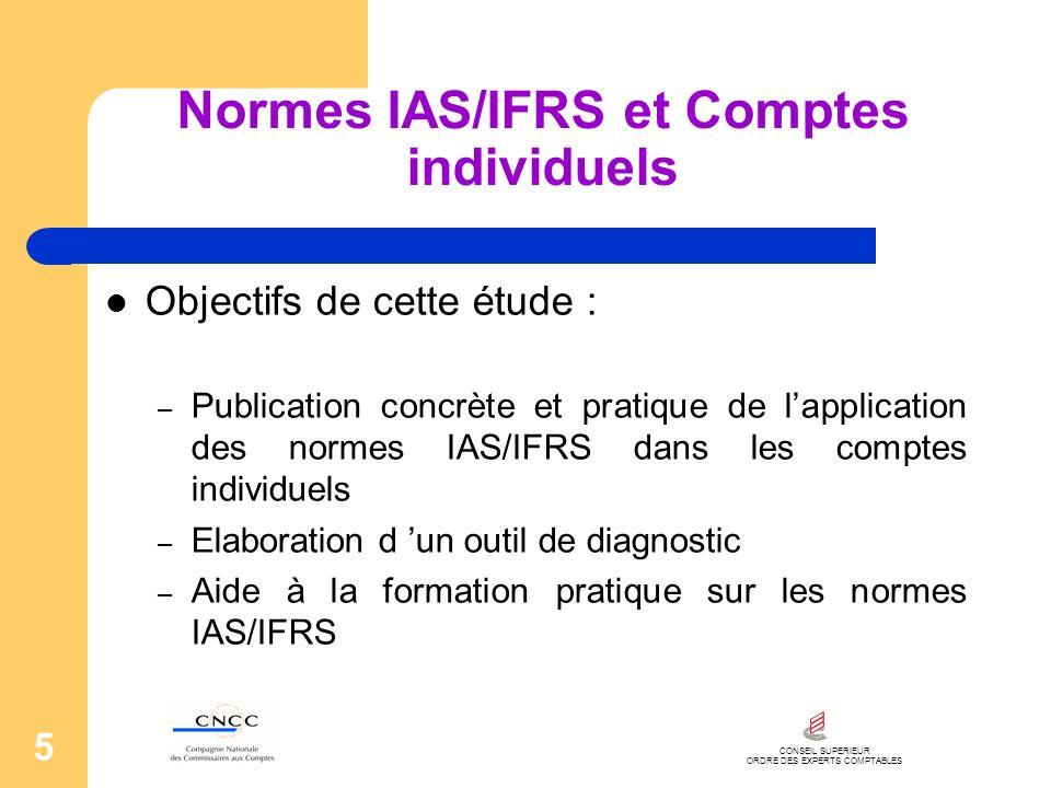 CONSEIL SUPERIEUR ORDRE DES EXPERTS COMPTABLES 5 Normes IAS/IFRS et Comptes individuels Objectifs de cette étude : – Publication concrète et pratique