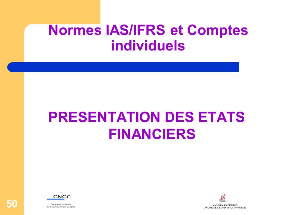 CONSEIL SUPERIEUR ORDRE DES EXPERTS COMPTABLES 50 Normes IAS/IFRS et Comptes individuels PRESENTATION DES ETATS FINANCIERS