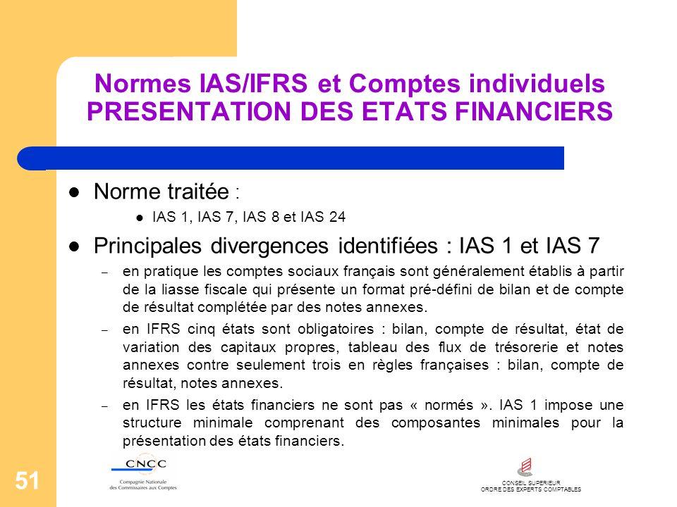 CONSEIL SUPERIEUR ORDRE DES EXPERTS COMPTABLES 51 Normes IAS/IFRS et Comptes individuels PRESENTATION DES ETATS FINANCIERS Norme traitée : IAS 1, IAS
