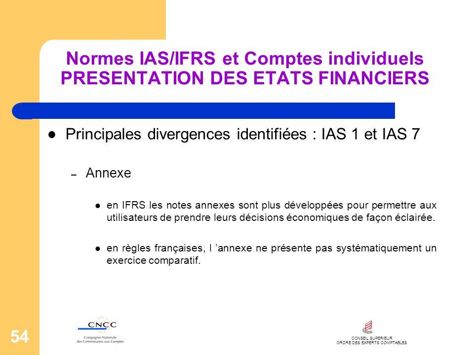 CONSEIL SUPERIEUR ORDRE DES EXPERTS COMPTABLES 54 Normes IAS/IFRS et Comptes individuels PRESENTATION DES ETATS FINANCIERS Principales divergences ide