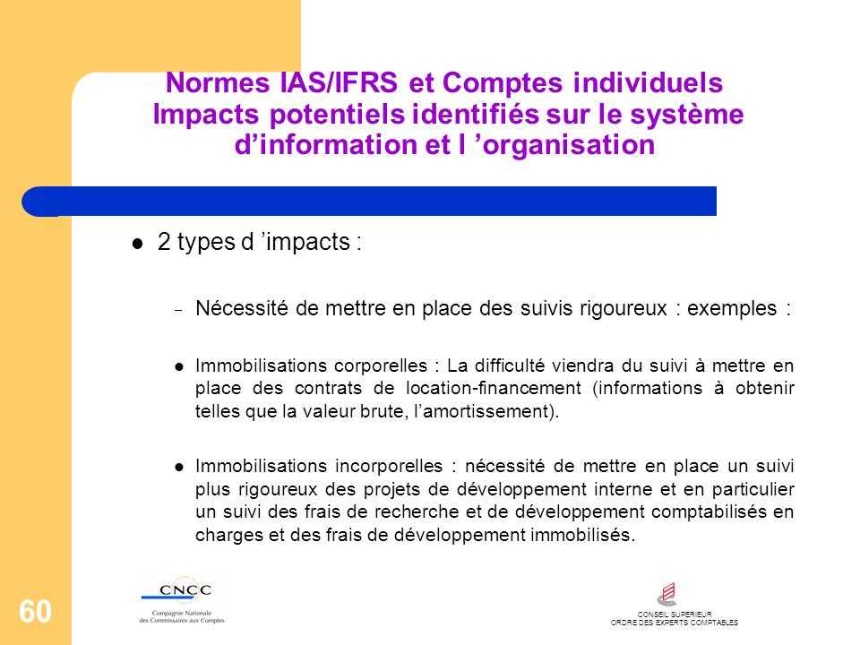 CONSEIL SUPERIEUR ORDRE DES EXPERTS COMPTABLES 60 Normes IAS/IFRS et Comptes individuels Impacts potentiels identifiés sur le système dinformation et