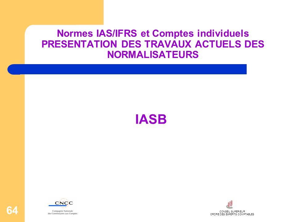 CONSEIL SUPERIEUR ORDRE DES EXPERTS COMPTABLES 64 Normes IAS/IFRS et Comptes individuels PRESENTATION DES TRAVAUX ACTUELS DES NORMALISATEURS IASB