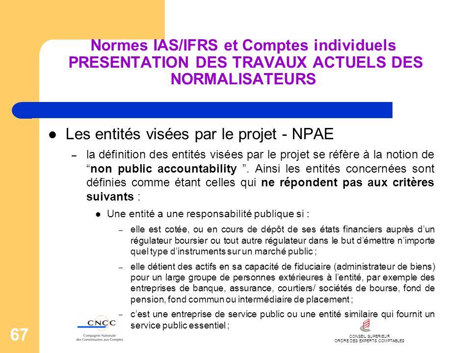 CONSEIL SUPERIEUR ORDRE DES EXPERTS COMPTABLES 67 Normes IAS/IFRS et Comptes individuels PRESENTATION DES TRAVAUX ACTUELS DES NORMALISATEURS Les entit