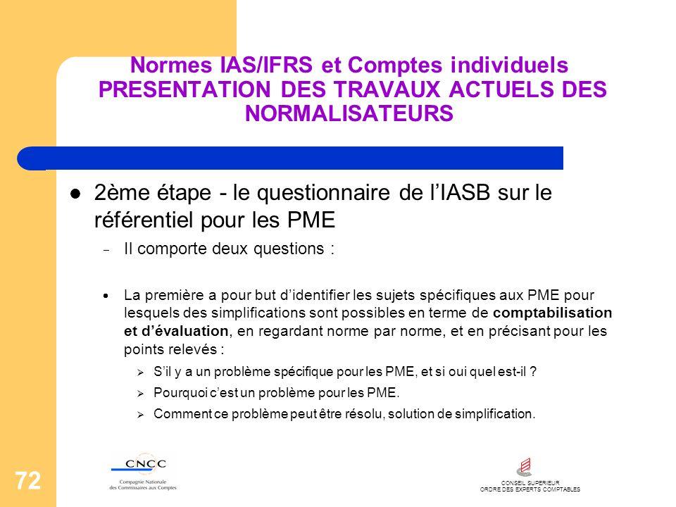 CONSEIL SUPERIEUR ORDRE DES EXPERTS COMPTABLES 72 Normes IAS/IFRS et Comptes individuels PRESENTATION DES TRAVAUX ACTUELS DES NORMALISATEURS 2ème étap