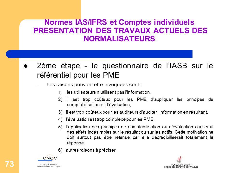 CONSEIL SUPERIEUR ORDRE DES EXPERTS COMPTABLES 73 Normes IAS/IFRS et Comptes individuels PRESENTATION DES TRAVAUX ACTUELS DES NORMALISATEURS 2ème étap