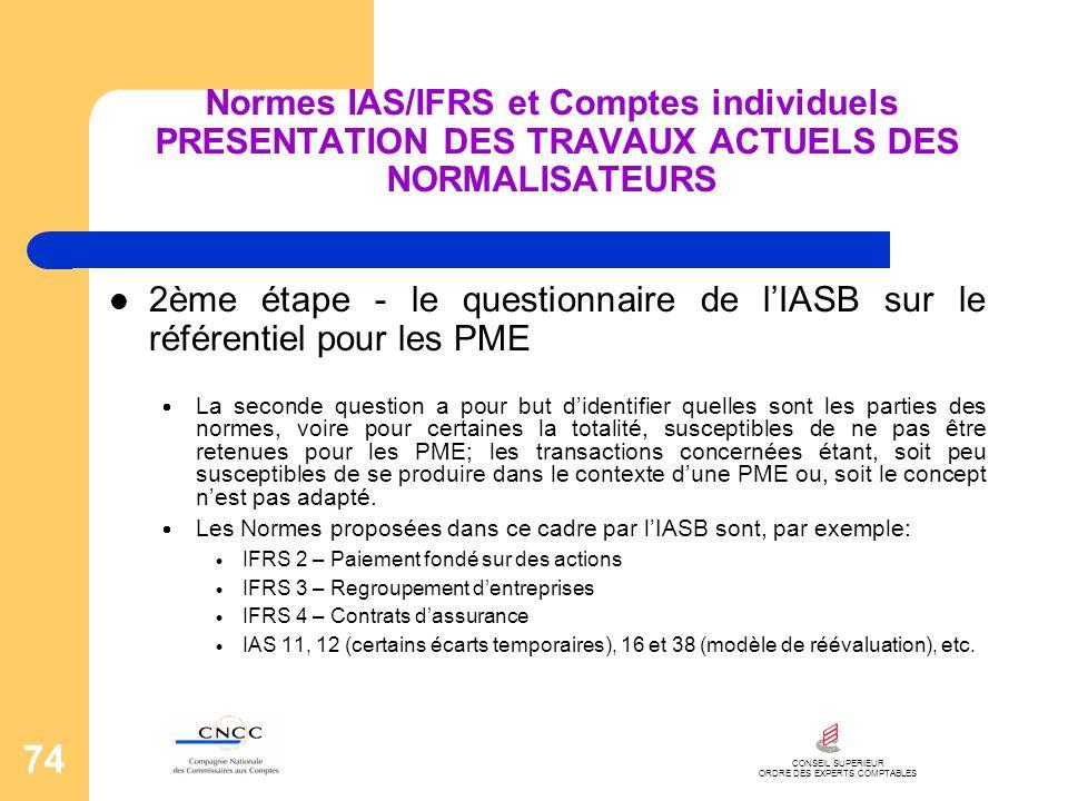 CONSEIL SUPERIEUR ORDRE DES EXPERTS COMPTABLES 74 Normes IAS/IFRS et Comptes individuels PRESENTATION DES TRAVAUX ACTUELS DES NORMALISATEURS 2ème étap