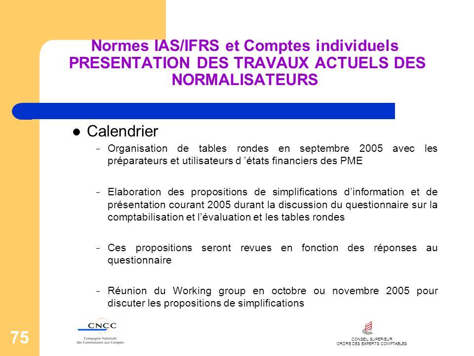 CONSEIL SUPERIEUR ORDRE DES EXPERTS COMPTABLES 75 Normes IAS/IFRS et Comptes individuels PRESENTATION DES TRAVAUX ACTUELS DES NORMALISATEURS Calendrie