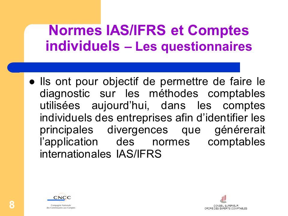 CONSEIL SUPERIEUR ORDRE DES EXPERTS COMPTABLES 8 Normes IAS/IFRS et Comptes individuels – Les questionnaires Ils ont pour objectif de permettre de fai