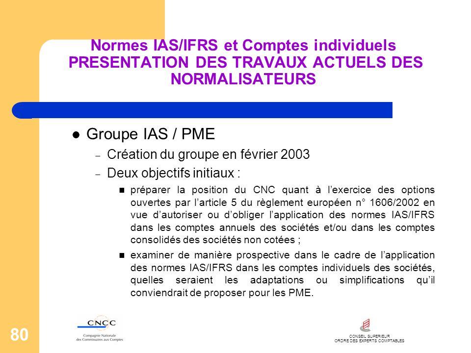 CONSEIL SUPERIEUR ORDRE DES EXPERTS COMPTABLES 80 Normes IAS/IFRS et Comptes individuels PRESENTATION DES TRAVAUX ACTUELS DES NORMALISATEURS Groupe IA
