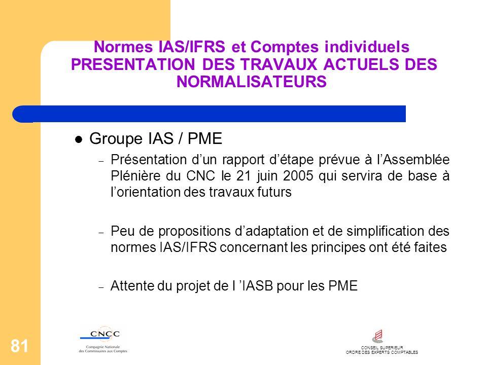 CONSEIL SUPERIEUR ORDRE DES EXPERTS COMPTABLES 81 Normes IAS/IFRS et Comptes individuels PRESENTATION DES TRAVAUX ACTUELS DES NORMALISATEURS Groupe IA