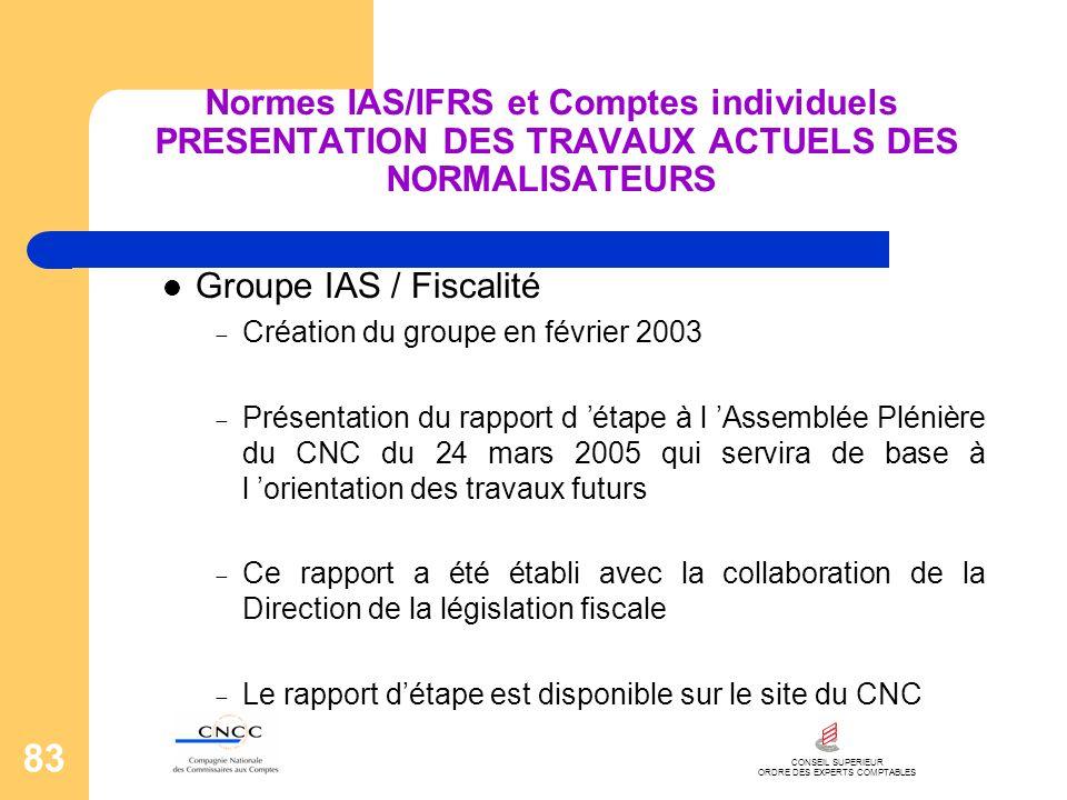 CONSEIL SUPERIEUR ORDRE DES EXPERTS COMPTABLES 83 Normes IAS/IFRS et Comptes individuels PRESENTATION DES TRAVAUX ACTUELS DES NORMALISATEURS Groupe IA