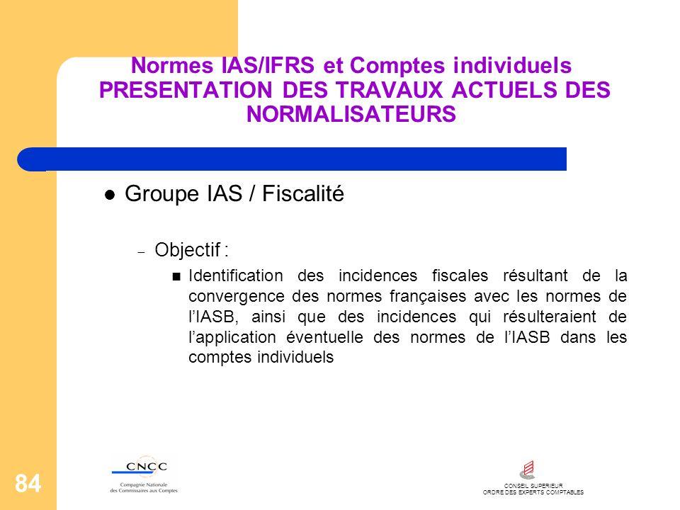 CONSEIL SUPERIEUR ORDRE DES EXPERTS COMPTABLES 84 Normes IAS/IFRS et Comptes individuels PRESENTATION DES TRAVAUX ACTUELS DES NORMALISATEURS Groupe IA