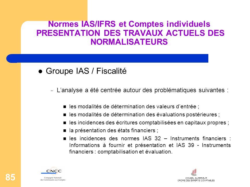 CONSEIL SUPERIEUR ORDRE DES EXPERTS COMPTABLES 85 Normes IAS/IFRS et Comptes individuels PRESENTATION DES TRAVAUX ACTUELS DES NORMALISATEURS Groupe IA
