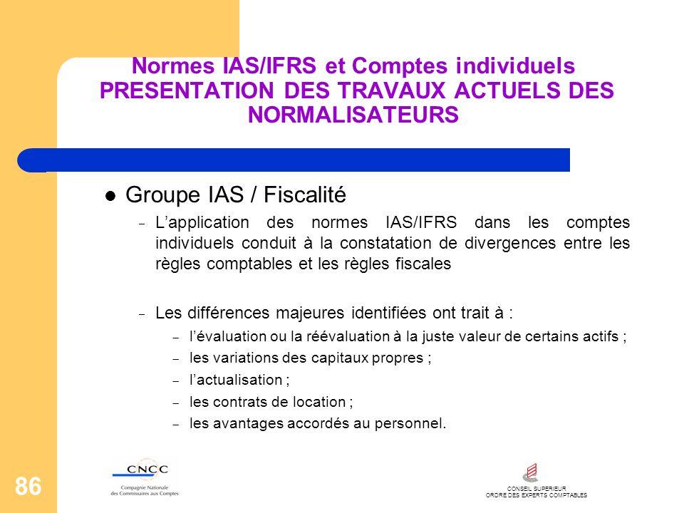 CONSEIL SUPERIEUR ORDRE DES EXPERTS COMPTABLES 86 Normes IAS/IFRS et Comptes individuels PRESENTATION DES TRAVAUX ACTUELS DES NORMALISATEURS Groupe IA