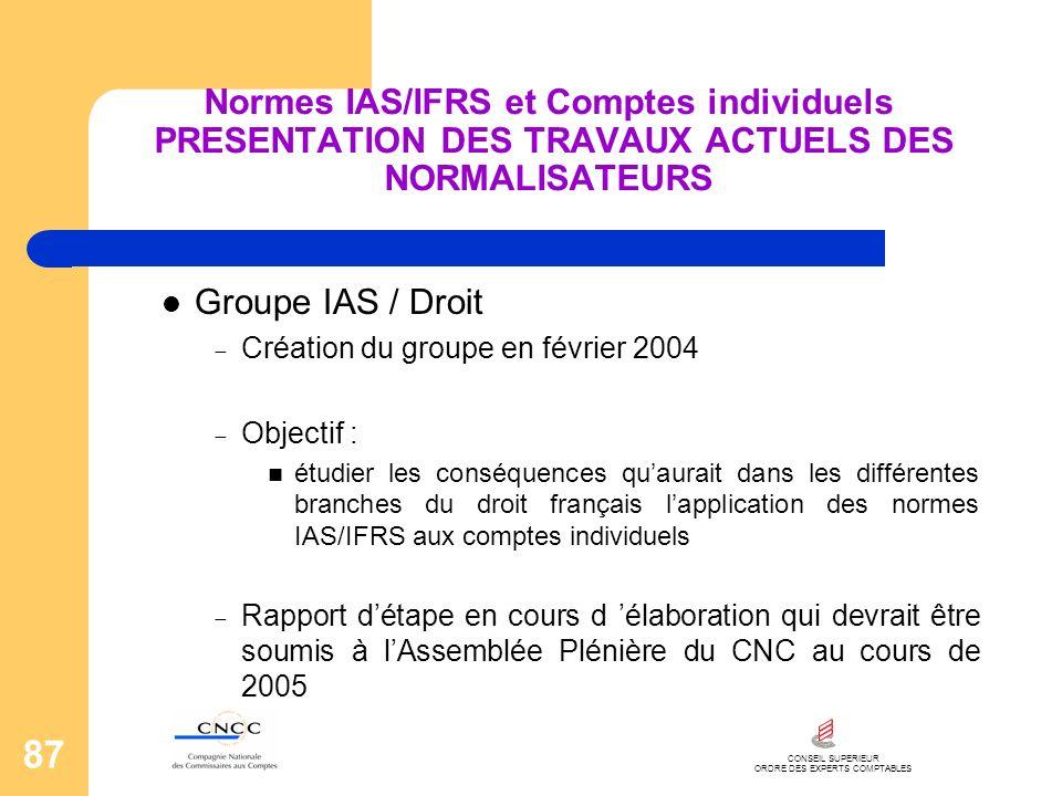 CONSEIL SUPERIEUR ORDRE DES EXPERTS COMPTABLES 87 Normes IAS/IFRS et Comptes individuels PRESENTATION DES TRAVAUX ACTUELS DES NORMALISATEURS Groupe IA