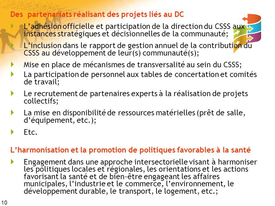 10 Des partenariats réalisant des projets liés au DC Ladhésion officielle et participation de la direction du CSSS aux instances stratégiques et décis