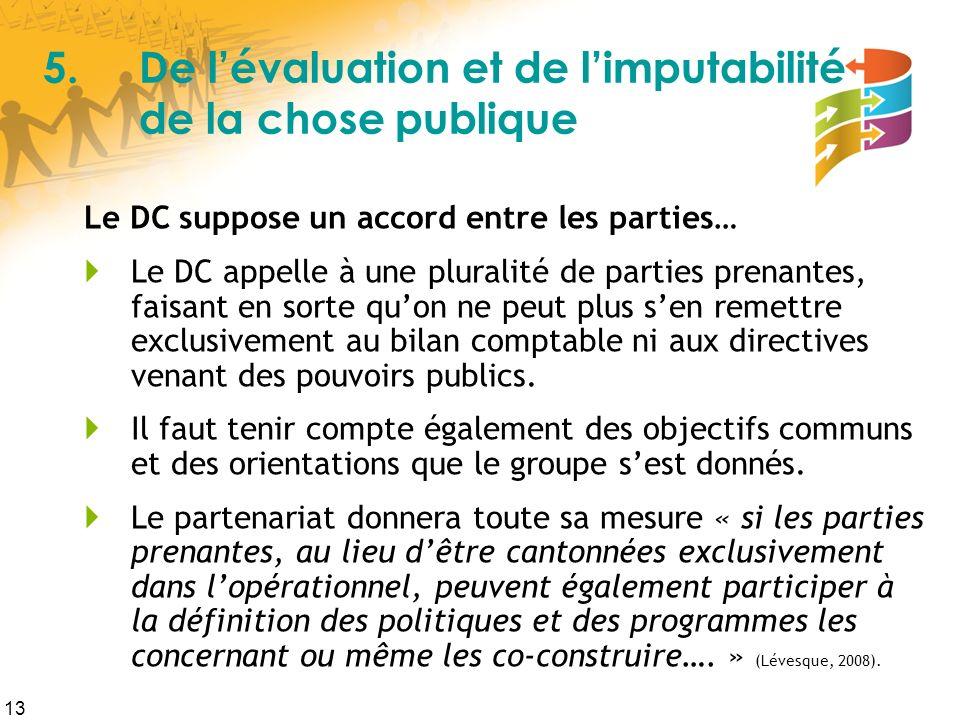 13 5.De lévaluation et de limputabilité de la chose publique Le DC suppose un accord entre les parties… Le DC appelle à une pluralité de parties prena