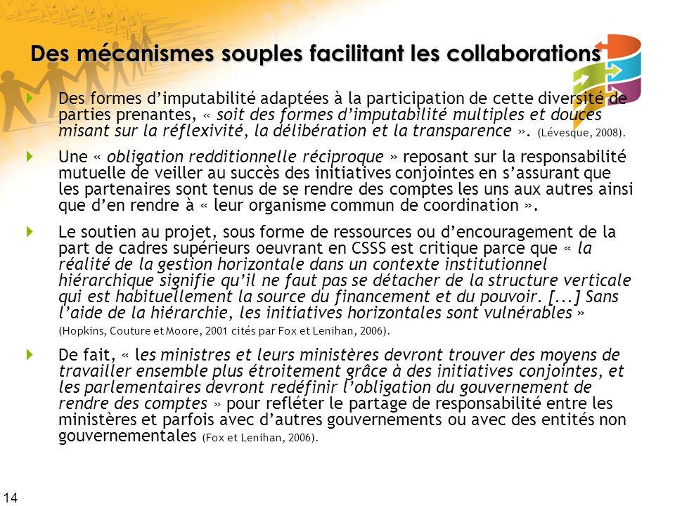 14 Des mécanismes souples facilitant les collaborations Des formes dimputabilité adaptées à la participation de cette diversité de parties prenantes,