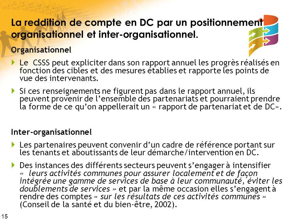 15 La reddition de compte en DC par un positionnement organisationnel et inter-organisationnel. Organisationnel Le CSSS peut expliciter dans son rappo