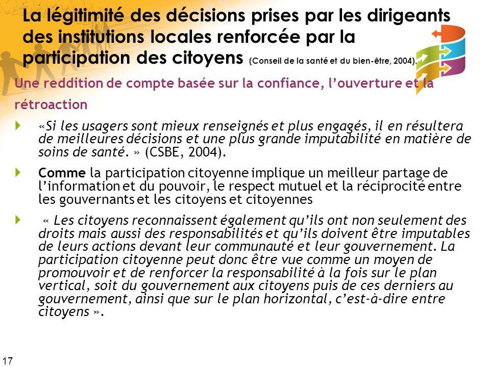 17 La légitimité des décisions prises par les dirigeants des institutions locales renforcée par la participation des citoyens (Conseil de la santé et